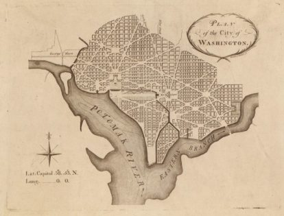 Pierre Charles L'Enfant's design of Washington, D.C., image courtesy of the Library of Congress Digital Collections.