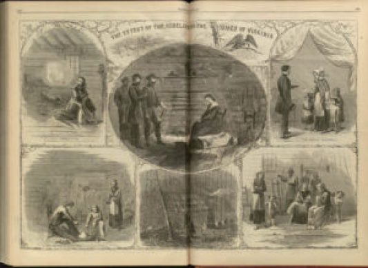 """The Effect of the Rebellion on the Homes of Virginia,"" Harper's Weekly, December 24, 1864. Courtesy of the Hargrett Rare Book and Manuscript Library, University of Georgia, Athens."