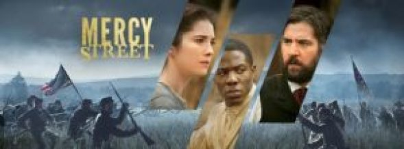Mercy Street header depicting three characters and a battle scene