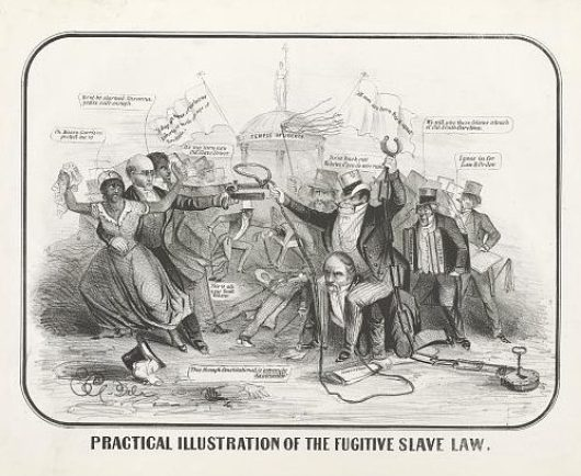 Political cartoon illustrating a woman being taken into custody