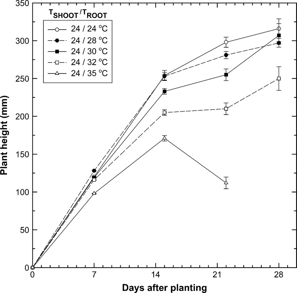 hight resolution of effects of shoot tshoot and root zone troot temperature treatments on plant height during development of wheat observations represent means standard