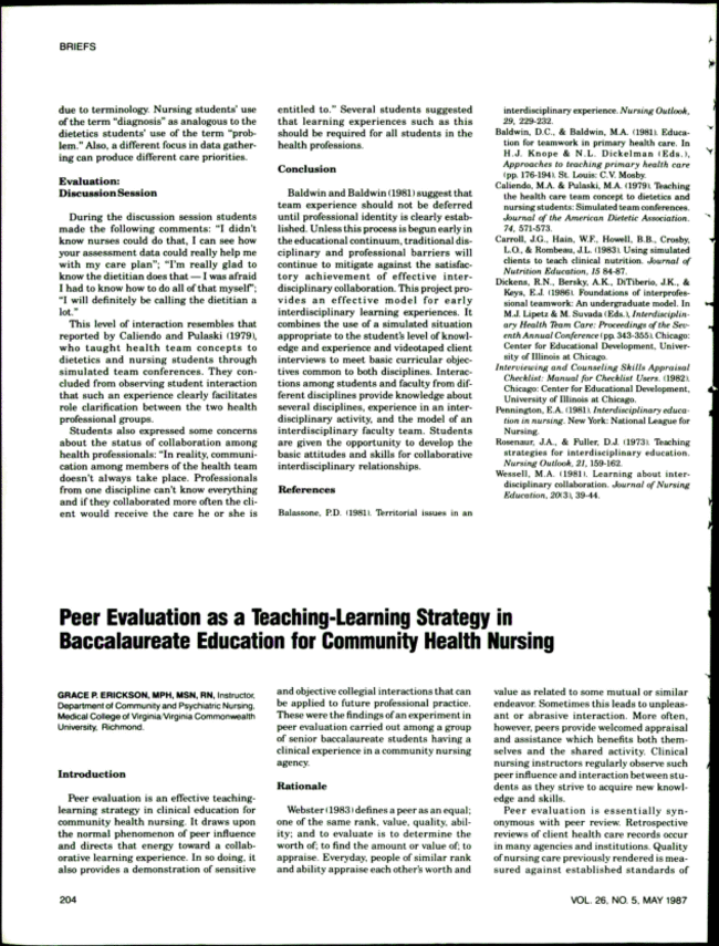 Peer Evaluation as a Teaching-Learning Strategy in