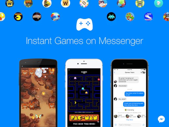 Jeux dans l'Application Messenger de Facebook