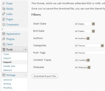 WordPress 3 - Exporting a Website