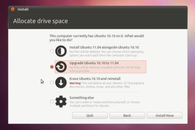 The new installer options for Ubuntu 11.04