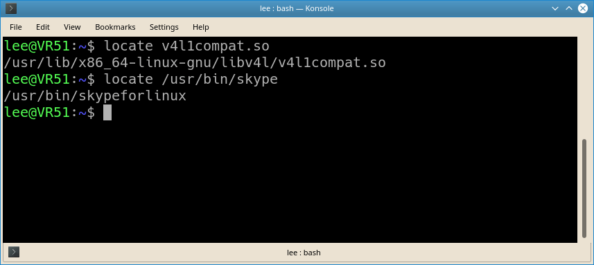 Locate Skype v4l libraries with Konsole
