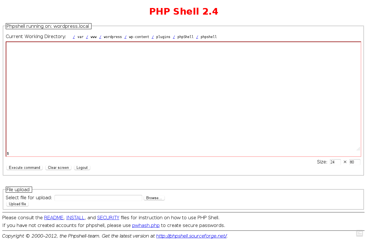 PHP Shell 2.4 for WordPress