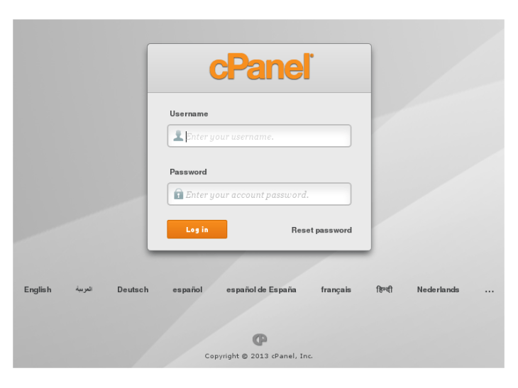 Log into cPanel