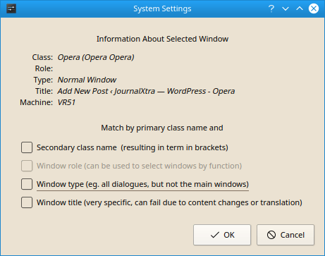 KDE Window Rules Window Detection Screenshot