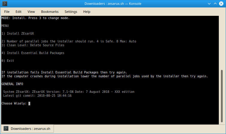 ZEsarUX Linux Installer Interface Screenshot