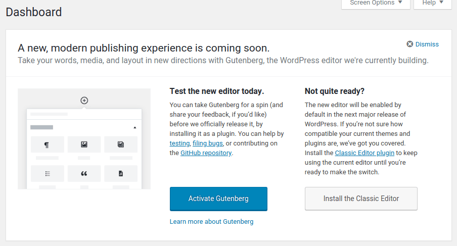 Try Gutenberg Editor WordPress 4.9.8 Admin Notice