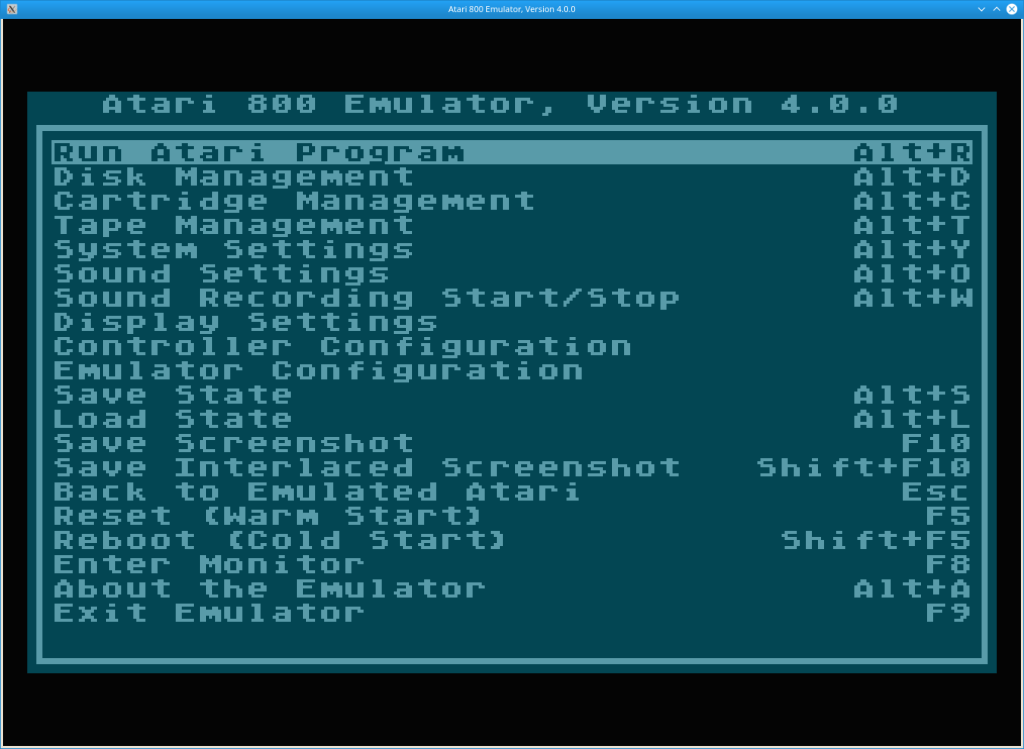 Atari800 Configuration Screen Screenshot
