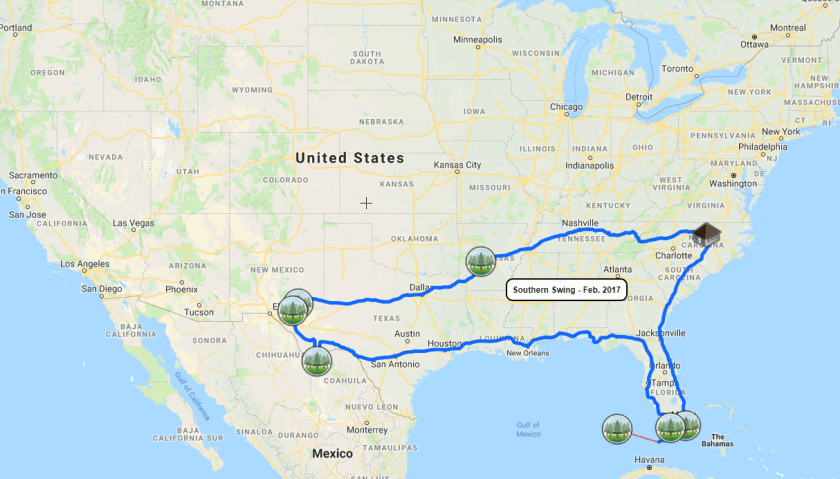 2017-02-Southern-Swing-Overall Map of Our Trips to All National Parks