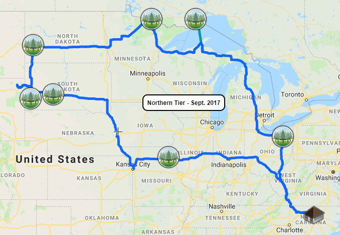 2017-09-Northern-Tier-Trip-Map-Close Map of Our Trips to All 60 National Parks