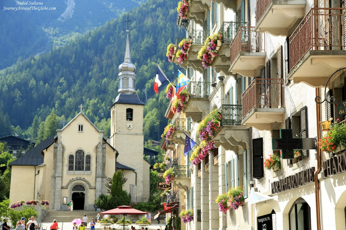hight resolution of catholic church of st michael and chamonix town hall on the right in chamonix