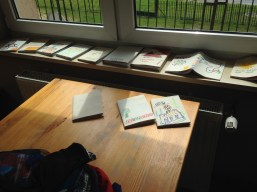 Morgan's excellent journal craft drying in the window