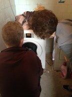 New washing machine... now let's see... how does this work. It's all in Polish. Go get Andrzej