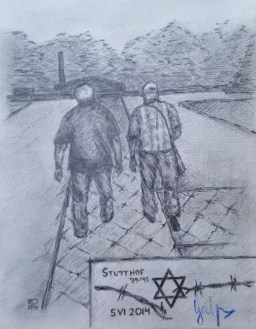 Ben's sketch of Kazik and the Survivor whose mother and sister were sent to Stutthof