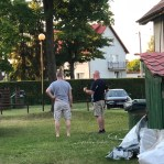 Ben and Andrzej figuring out where the new tent will go. https://journeyback.org/2018/06/03/a-day-of-worship-rest/