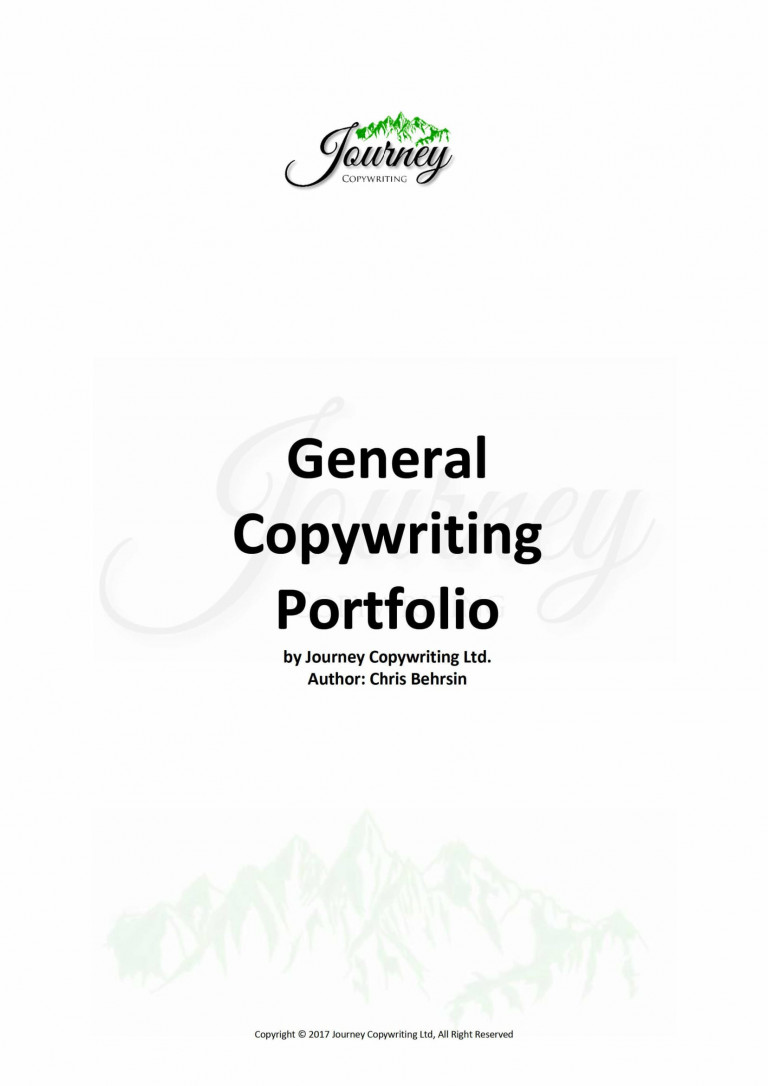 General Copywriting Portfolio title page