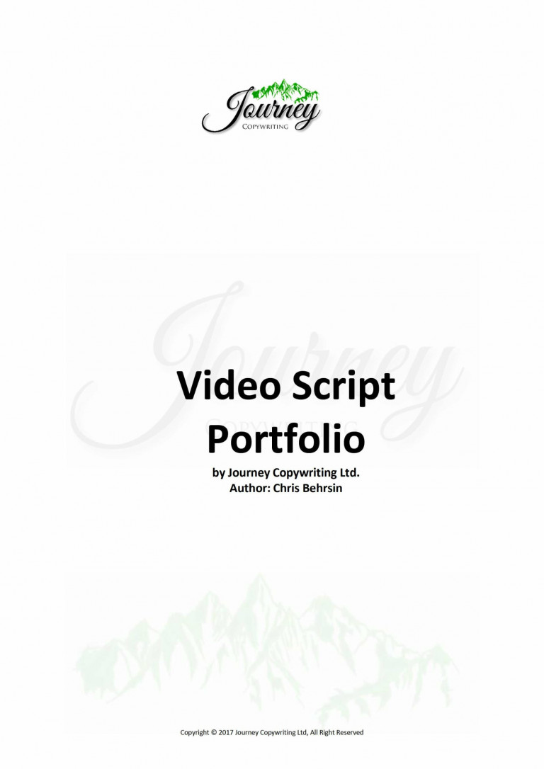 Journey Copywriting Explainer Video Script Portfolio title page