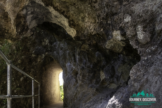 Man Made Archway Leading Into A Overhang Cave