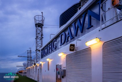 The Pacific Dawn sign at the top of the ship as taken from the top deck.