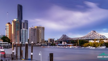 Brisbane's Story Bridge, skyscapers and piers