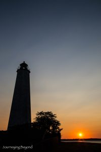 Sunset behind the New Haven Lighthouse in Connecticut