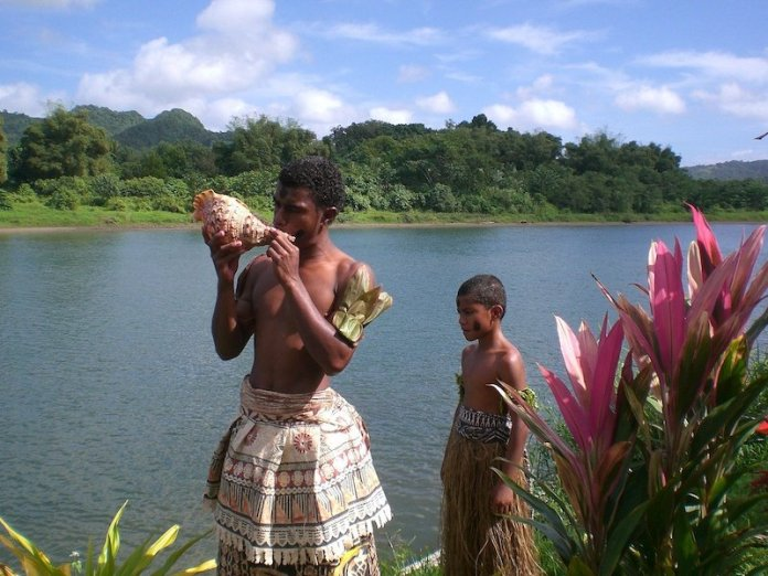 A Fijian and son