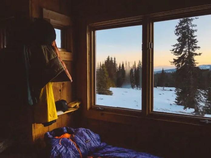 sleeping bag in winter cabin