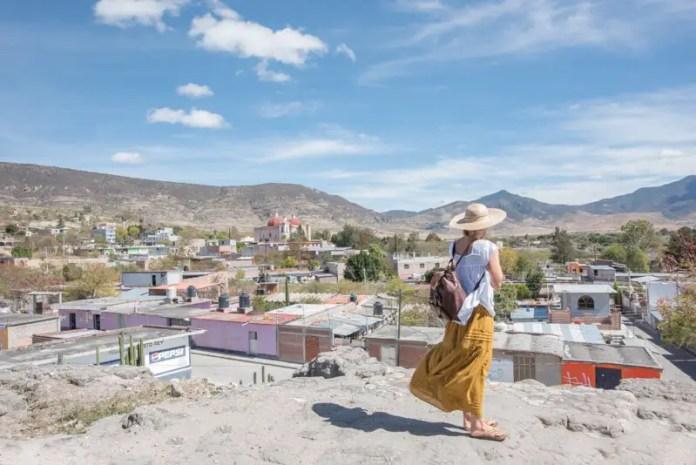 Woman overlooking view in Oaxaca