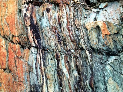 The rock had texture and a variety of colors