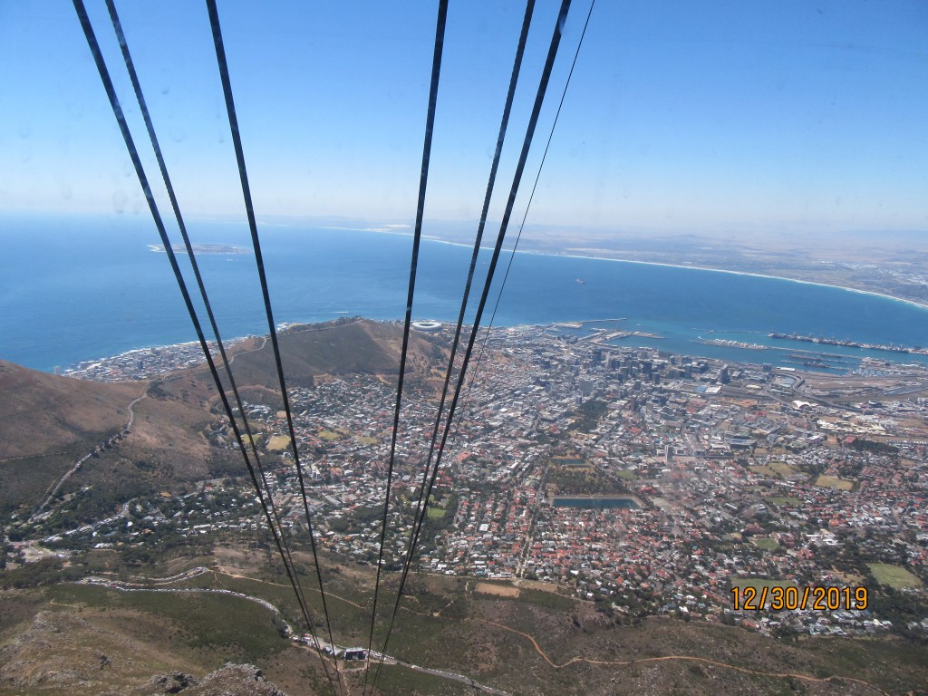 mountain, city and ocean from the cablecar