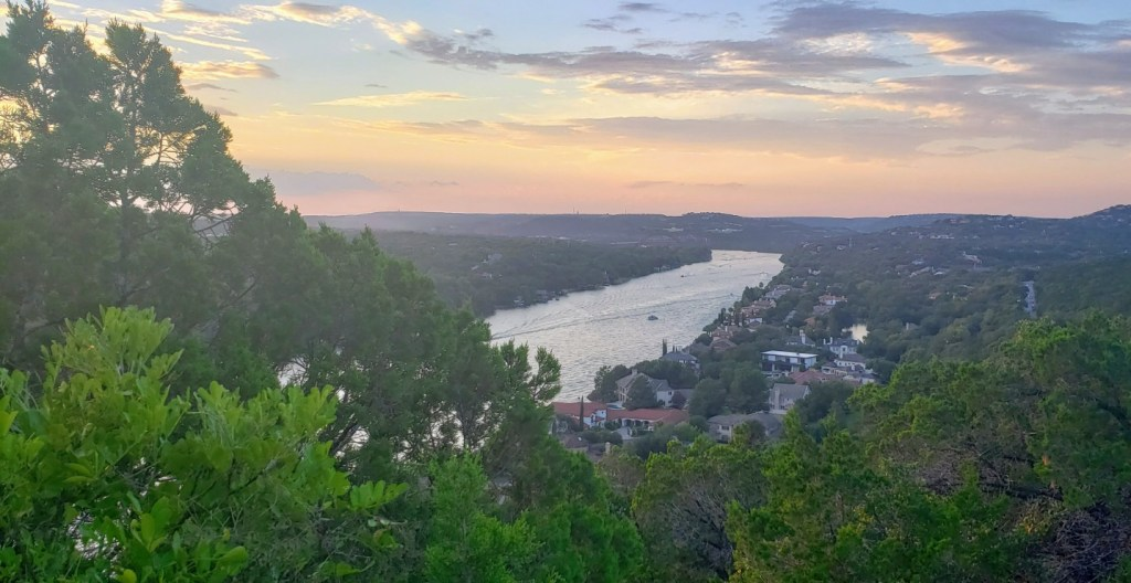 Views from Mount Bonnell of lake and surroundings