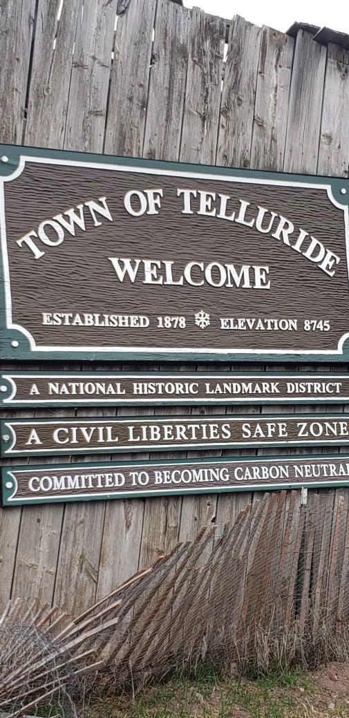 welcome sign, Telluride