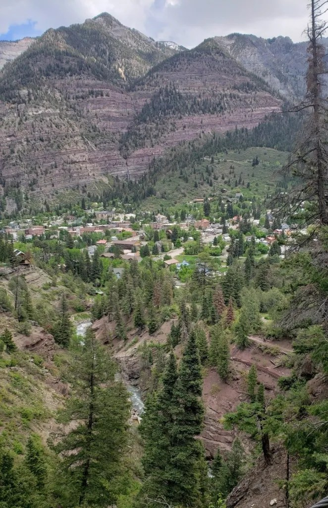 View of Ouray from the High Bridge trail