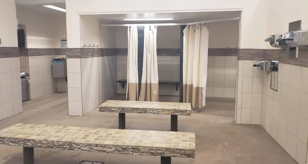 Changing room at Hot Springs Pool