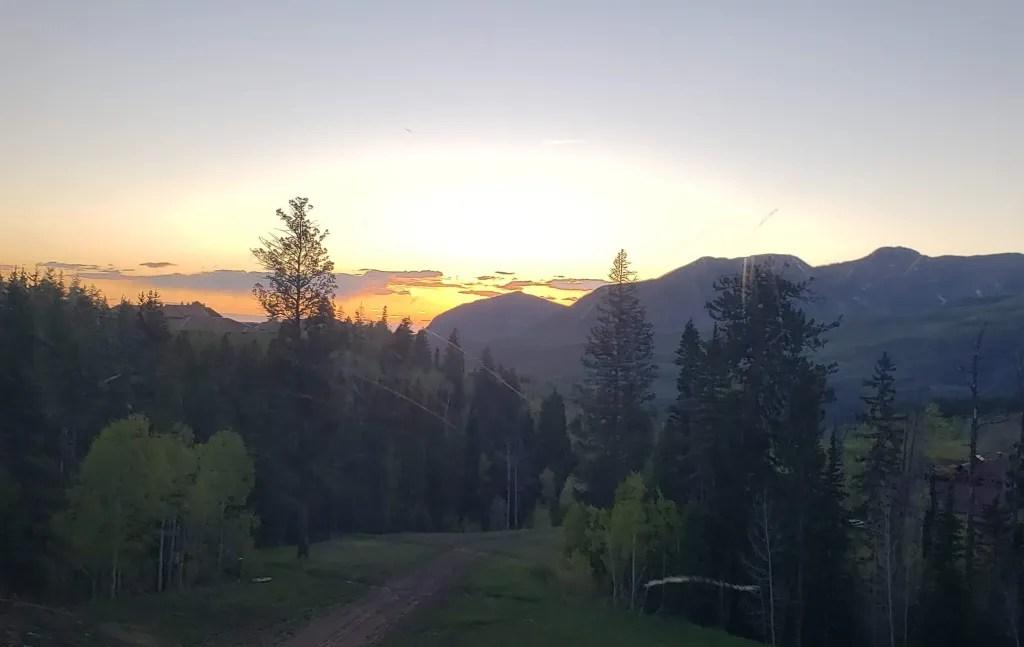Sun setting behind the San Juan mountains