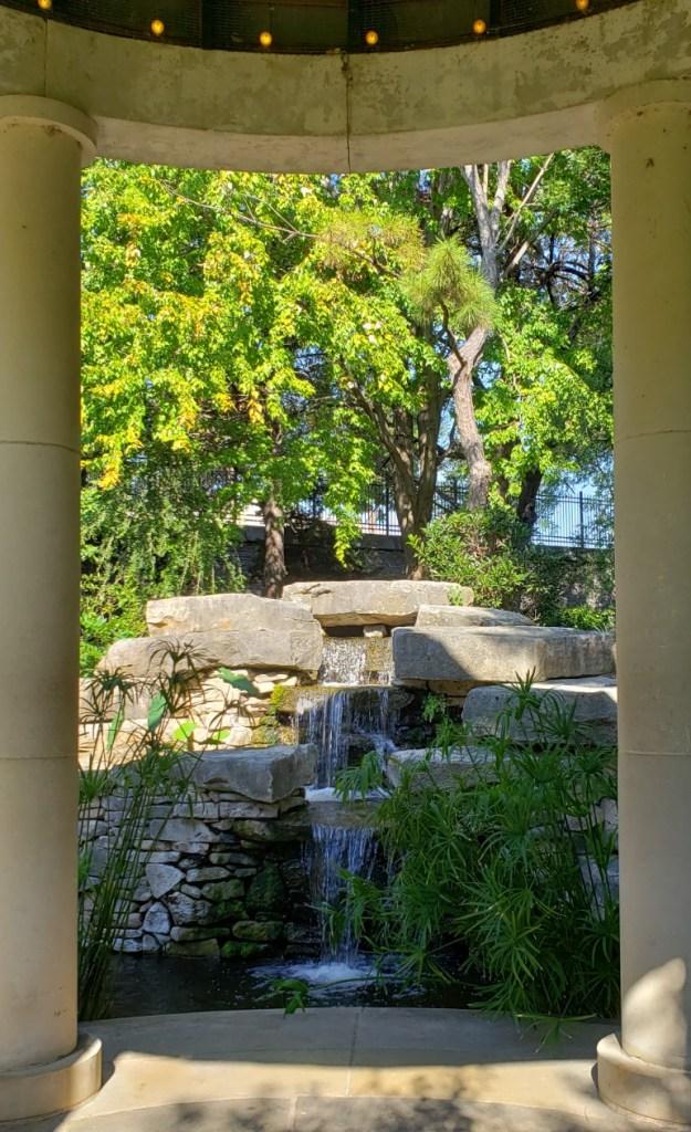 waterfall behind the gazebo at the Fuller Garden
