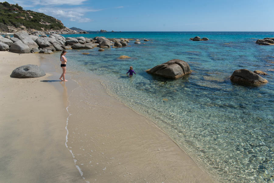 An empty beach at Spiaggia di Sa Ruxi, Sardinia