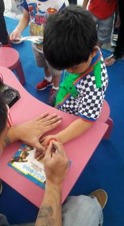 Kids get to choose which pup/badge they wanted to put on their hand.