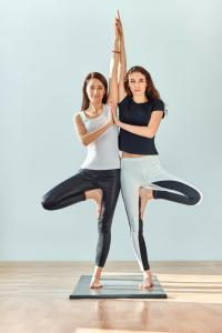 Partner Tree Pose: This is one of my personal favorite partner poses. Make sure that when you start your standing legs aren't too close together. If they are too close, you won't be able to shift your balance enough and will fall over.