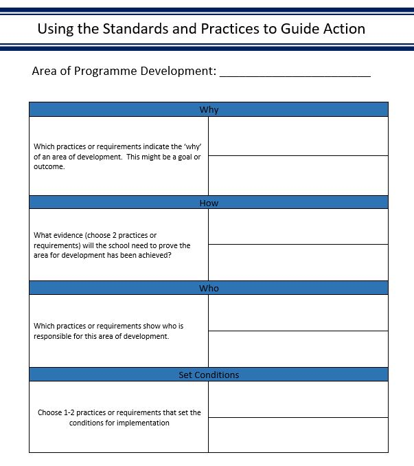 Using an action plan approach can also help us understand the standards and practices.