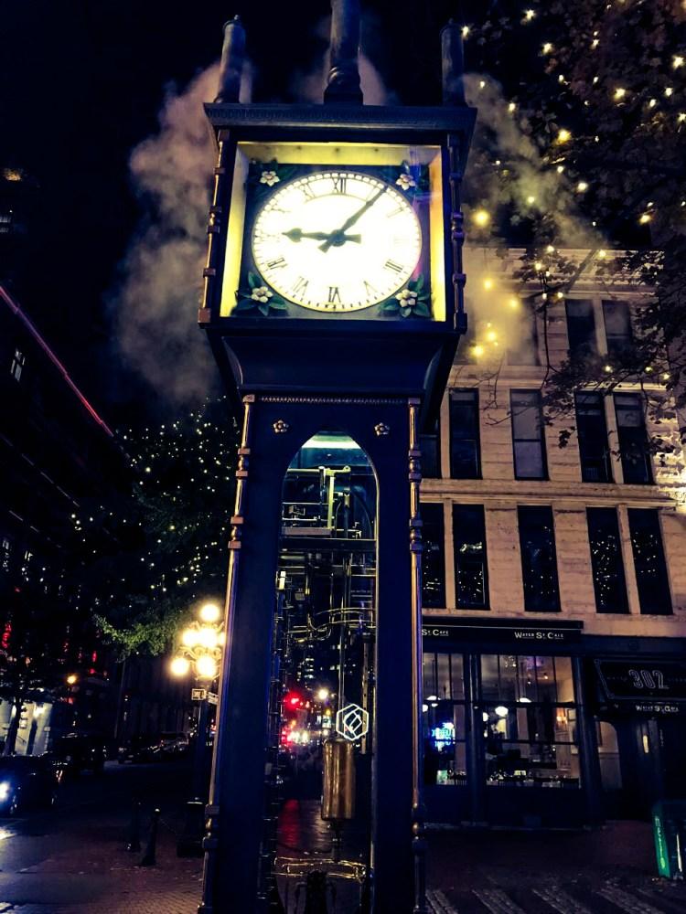 steam clock by night