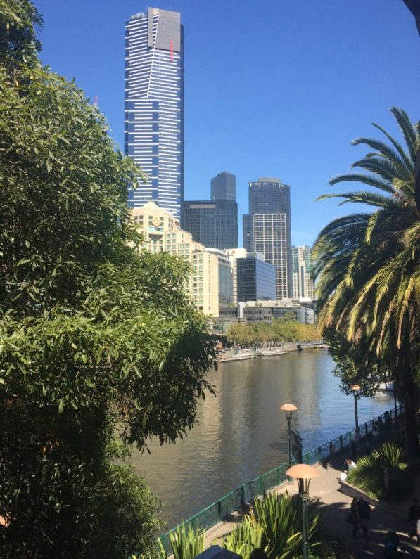 Eureka Sky Tower, Melbourne in the distance with river and palmtrees