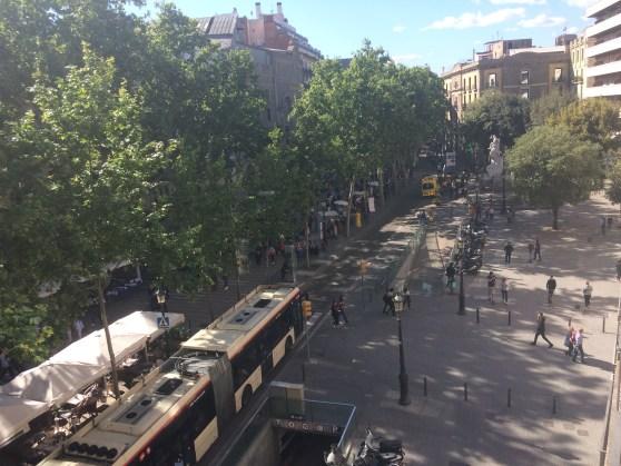 Las Ramblas, view of the busy street