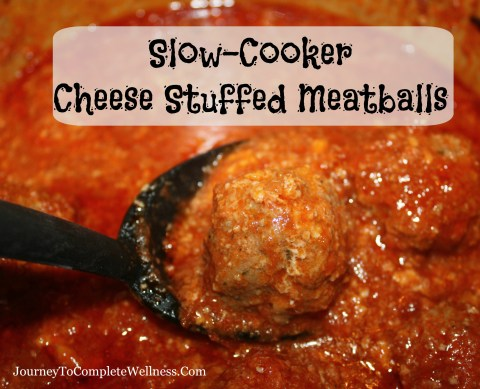 Slow-Cooker Cheese Stuffed Meatballs