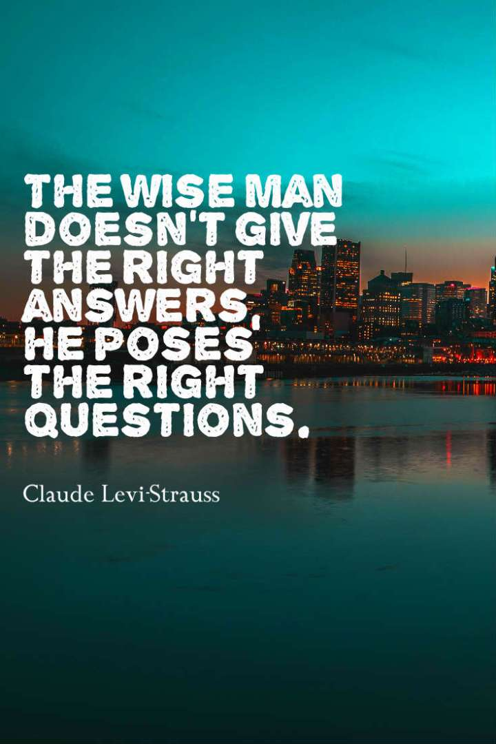 The wise man doesn't give the right answers, he poses the right questions.