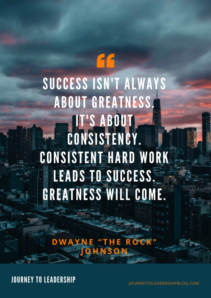 "Quote Of The Week #63 Success isn't always about greatness. It's about consistency. Consistent hard work leads to success. Greatness will come. - Dwayne ""The Rock"" Johnson #quotes #leadershipquotes #success #greatness"